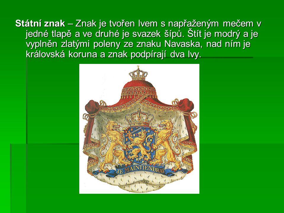 Státní znak – Znak je tvořen lvem s napřaženým mečem v jedné tlapě a ve druhé je svazek šípů.