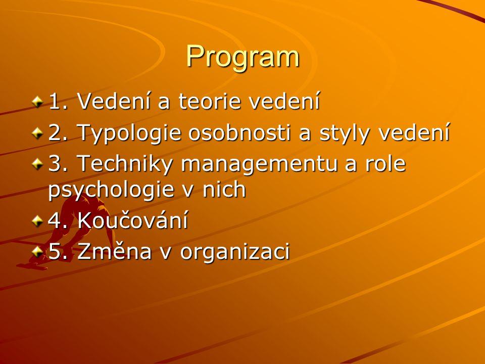 Program 1. Vedení a teorie vedení