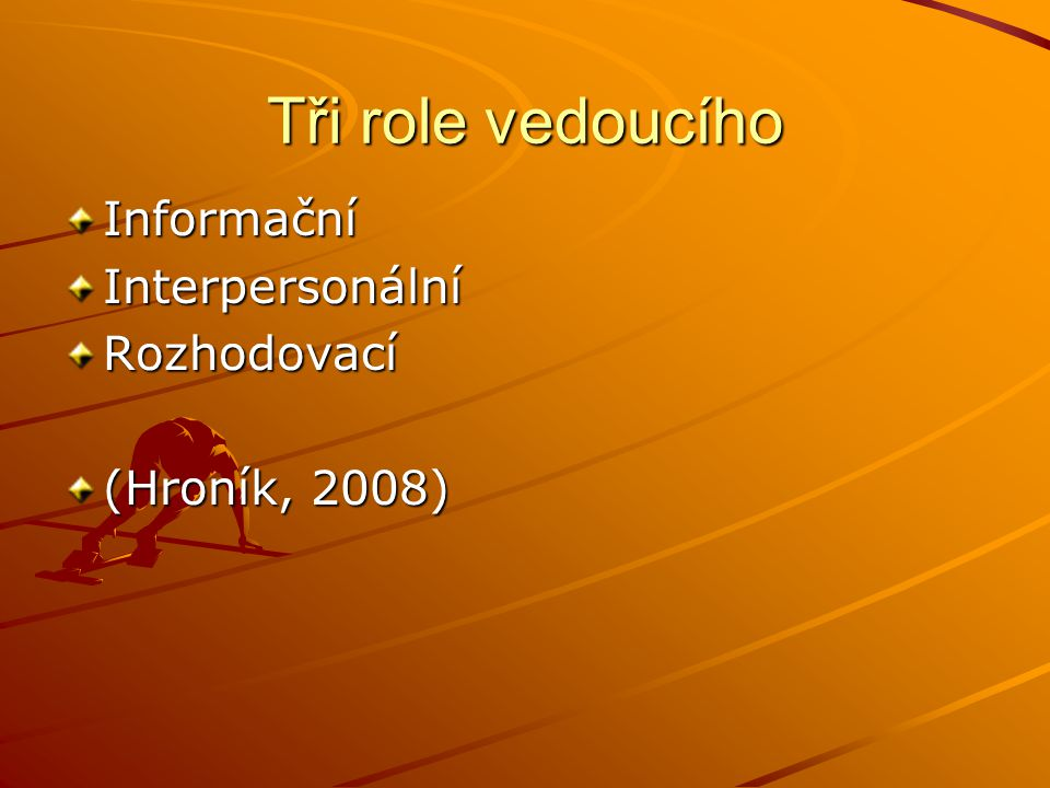 Tři role vedoucího Informační Interpersonální Rozhodovací