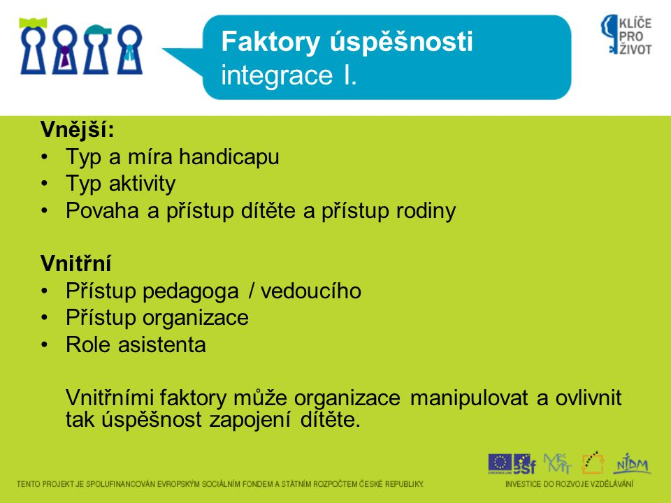 Faktory úspěšnosti integrace I.