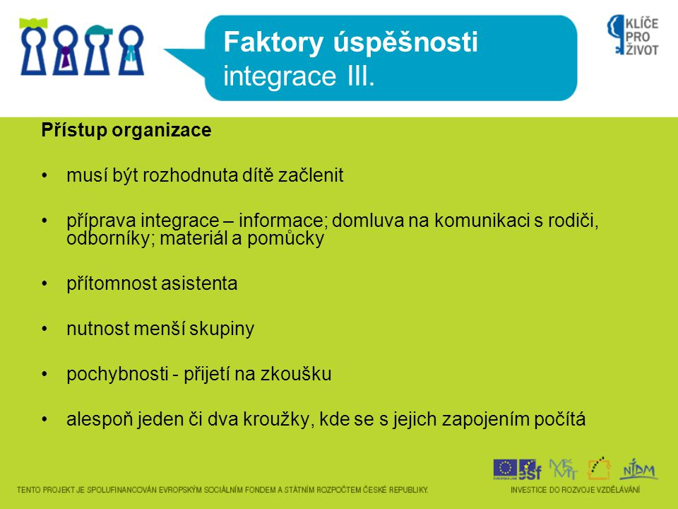 Faktory úspěšnosti integrace III.