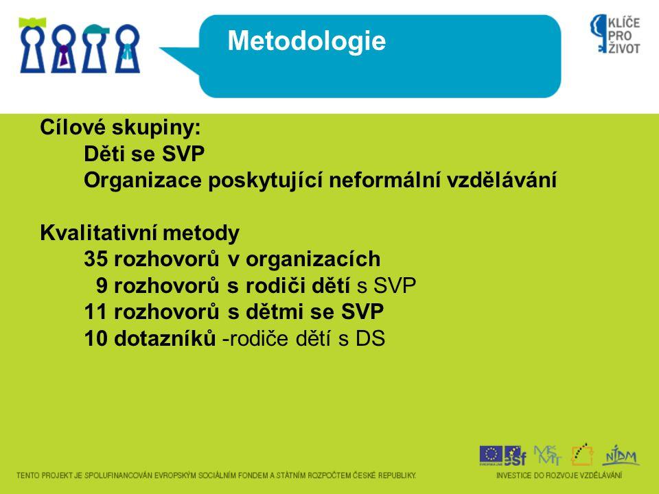 Metodologie Cílové skupiny: Děti se SVP