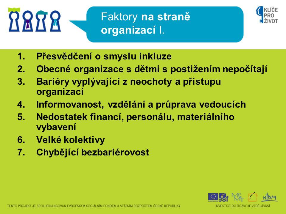 Faktory na straně organizací I.