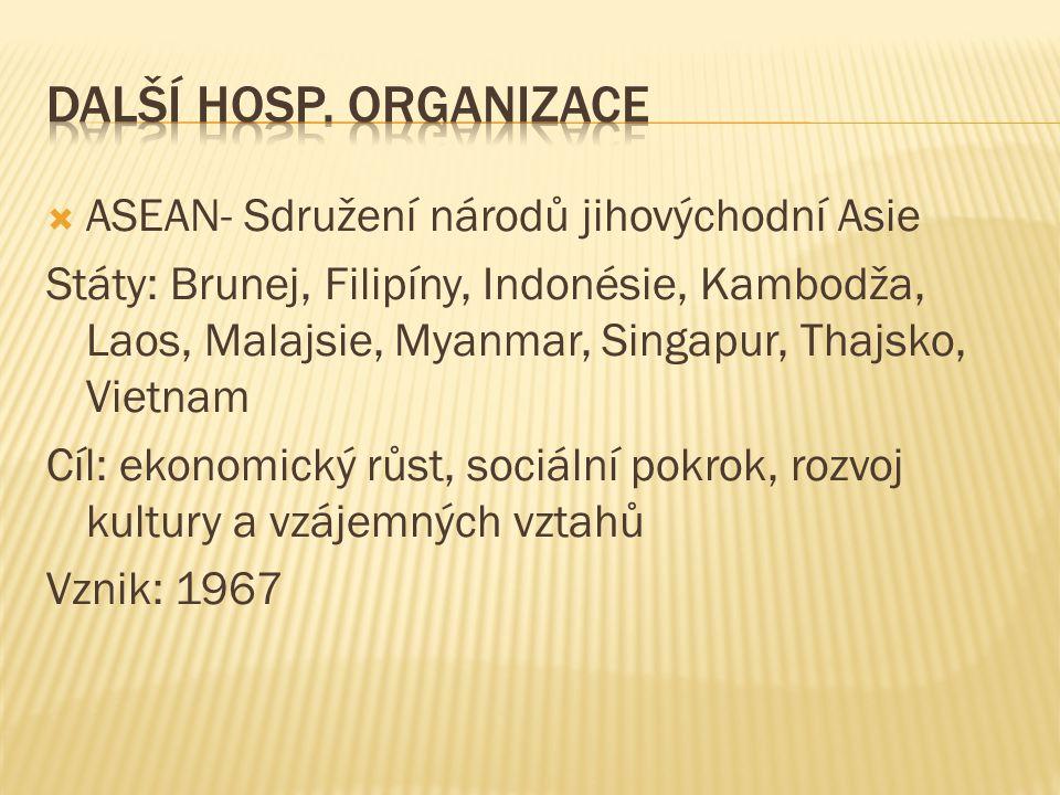 Další hosp. organizace ASEAN- Sdružení národů jihovýchodní Asie