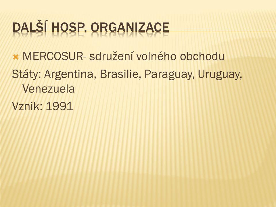 Další hosp. organizace MERCOSUR- sdružení volného obchodu