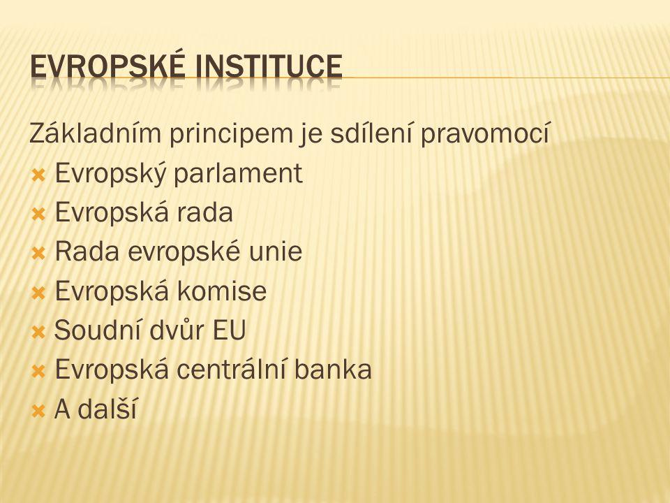 Evropské instituce Základním principem je sdílení pravomocí