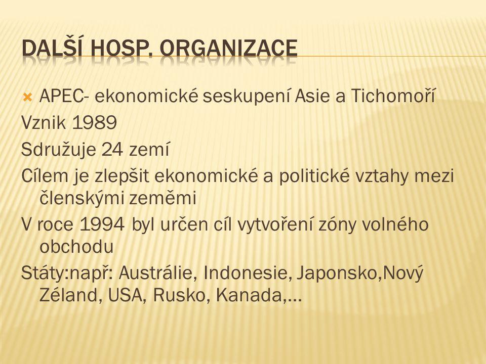 Další hosp. organizace APEC- ekonomické seskupení Asie a Tichomoří