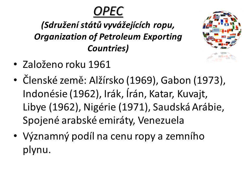 OPEC (Sdružení států vyvážejících ropu, Organization of Petroleum Exporting Countries)