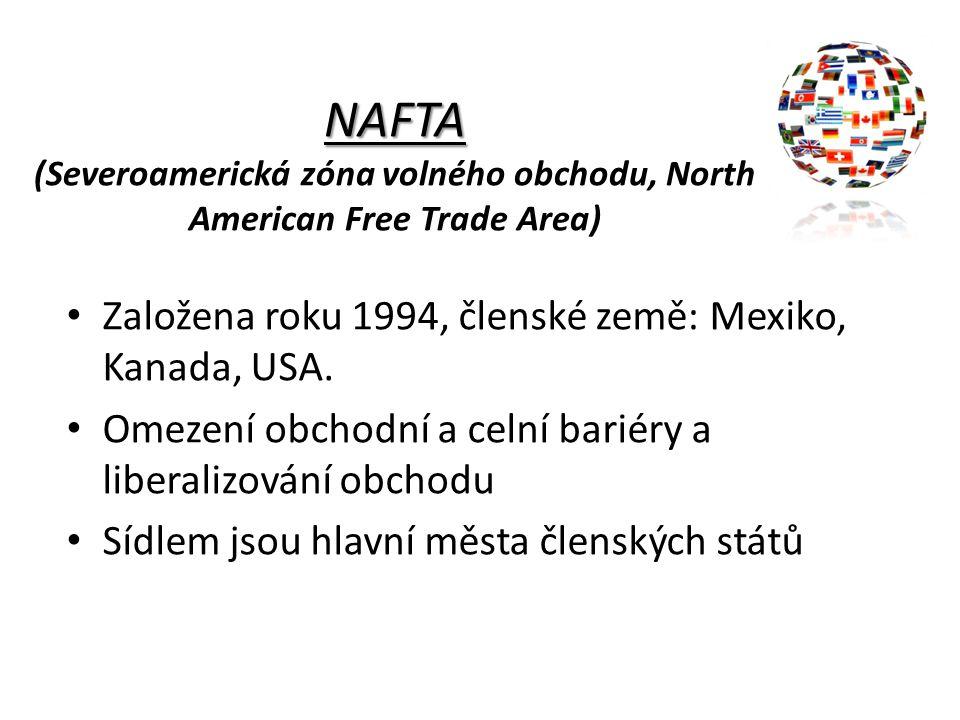 NAFTA (Severoamerická zóna volného obchodu, North American Free Trade Area)