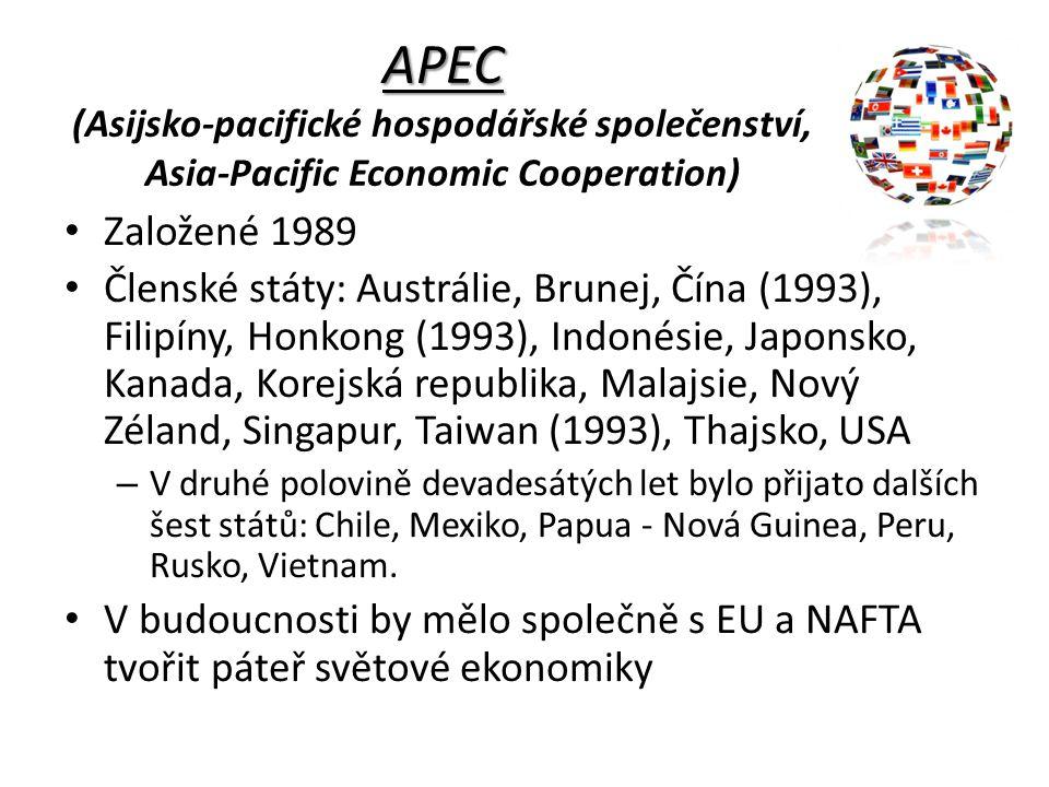 APEC (Asijsko-pacifické hospodářské společenství, Asia-Pacific Economic Cooperation)