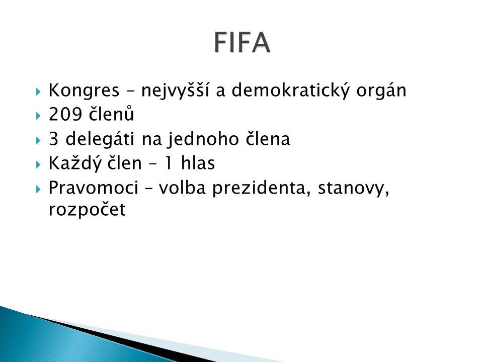 FIFA Kongres – nejvyšší a demokratický orgán 209 členů