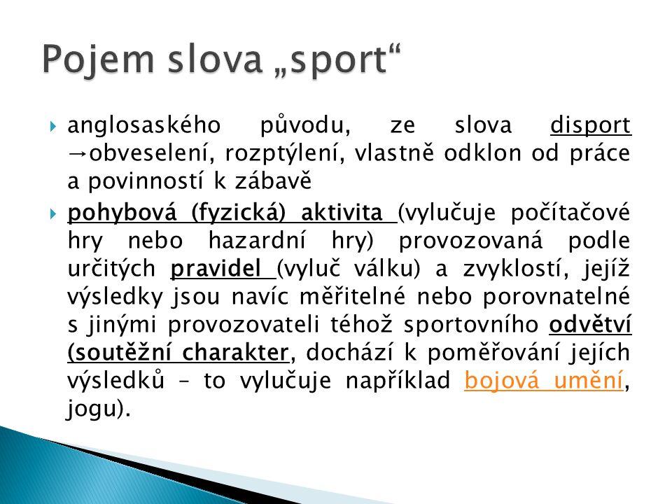 """Pojem slova """"sport anglosaského původu, ze slova disport →obveselení, rozptýlení, vlastně odklon od práce a povinností k zábavě."""