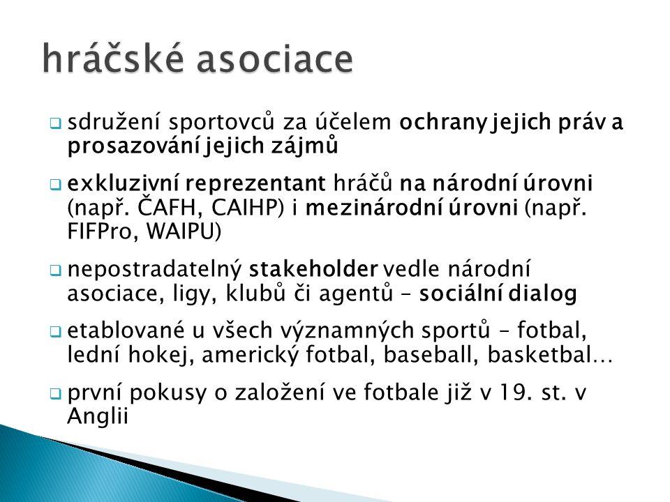hráčské asociace sdružení sportovců za účelem ochrany jejich práv a prosazování jejich zájmů.