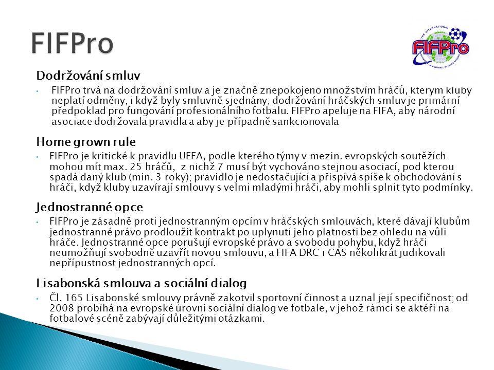 FIFPro Dodržování smluv Home grown rule Jednostranné opce