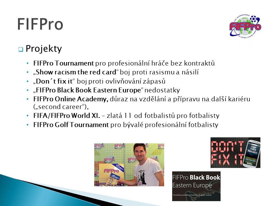 """FIFPro Projekty. FIFPro Tournament pro profesionální hráče bez kontraktů. """"Show racism the red card boj proti rasismu a násilí."""