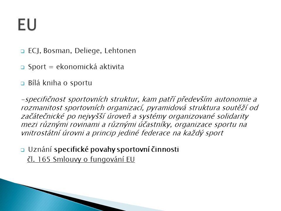 EU ECJ, Bosman, Deliege, Lehtonen Sport = ekonomická aktivita