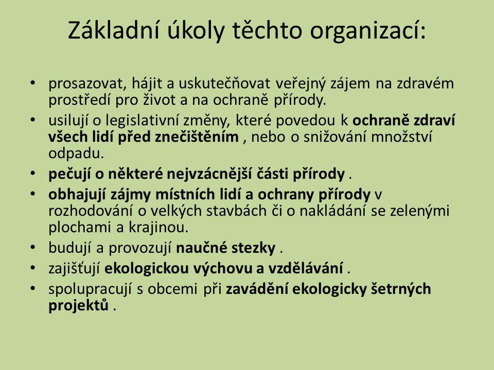 Základní úkoly těchto organizací: