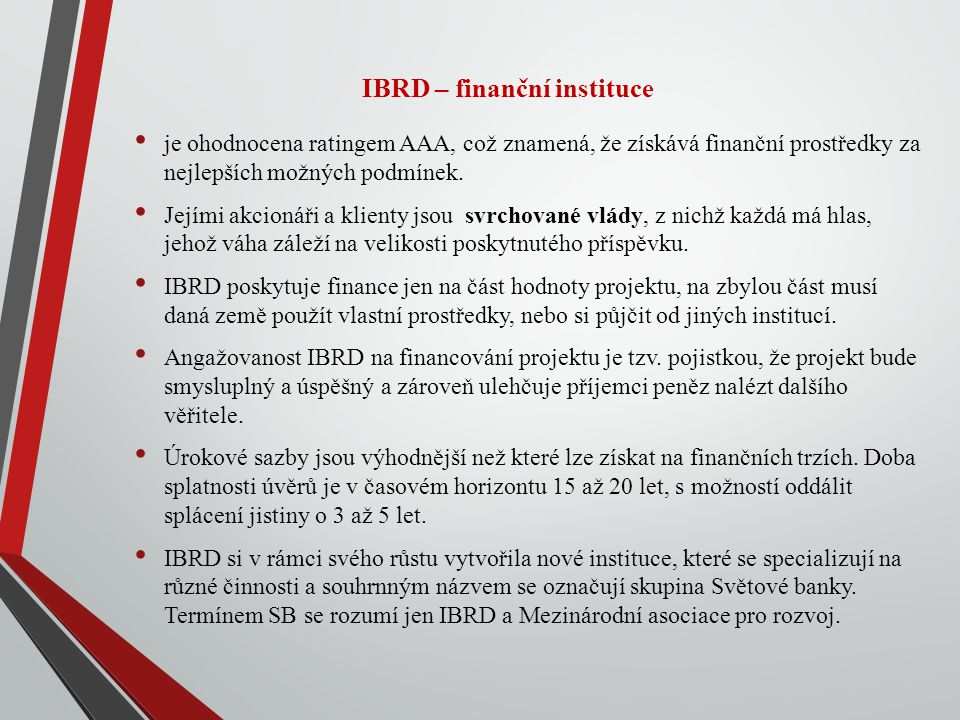 IBRD – finanční instituce