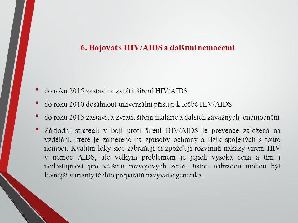 6. Bojovat s HIV/AIDS a dalšími nemocemi