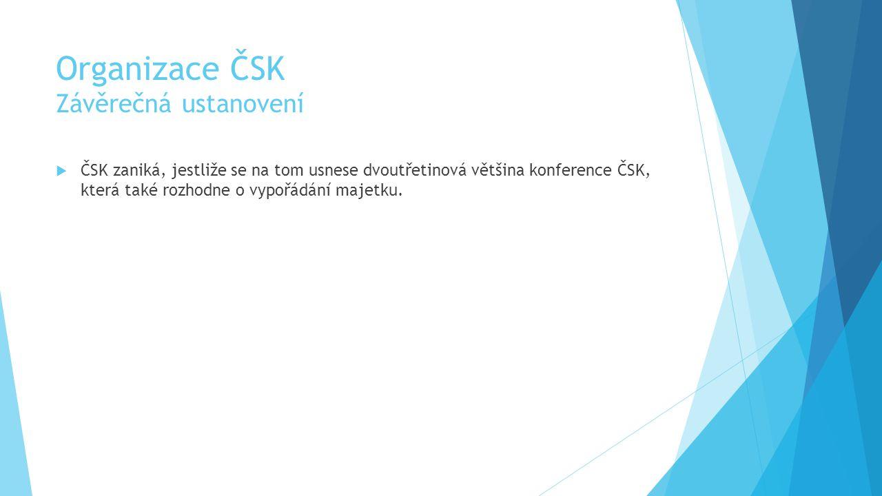 Organizace ČSK Závěrečná ustanovení