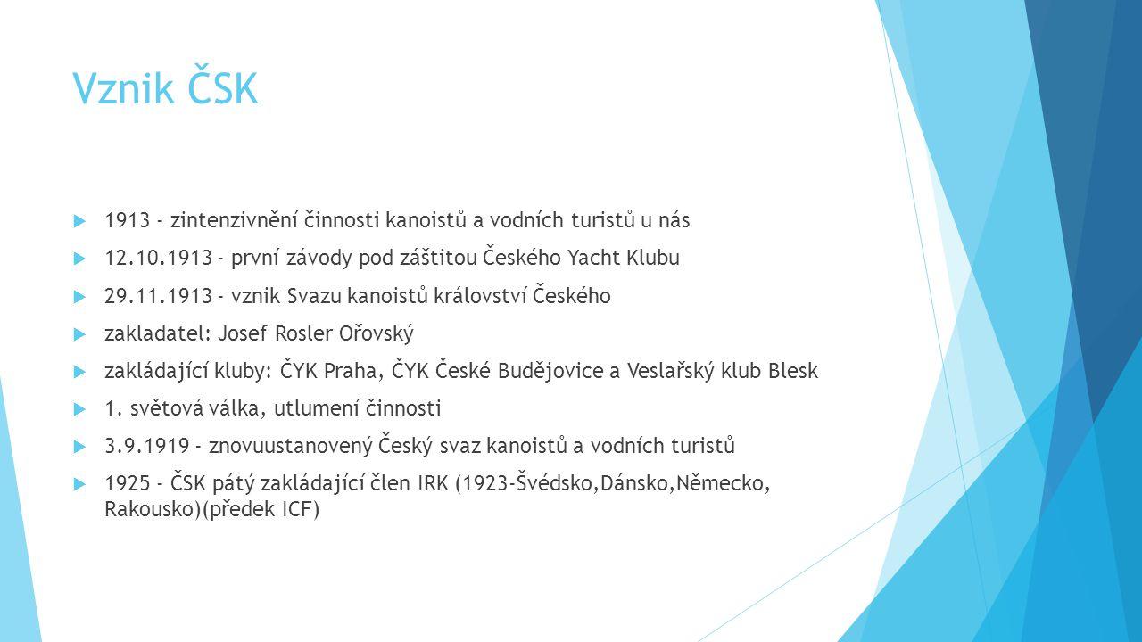 Vznik ČSK 1913 - zintenzivnění činnosti kanoistů a vodních turistů u nás. 12.10.1913 - první závody pod záštitou Českého Yacht Klubu.