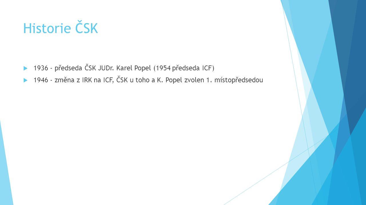 Historie ČSK 1936 - předseda ČSK JUDr. Karel Popel (1954 předseda ICF)