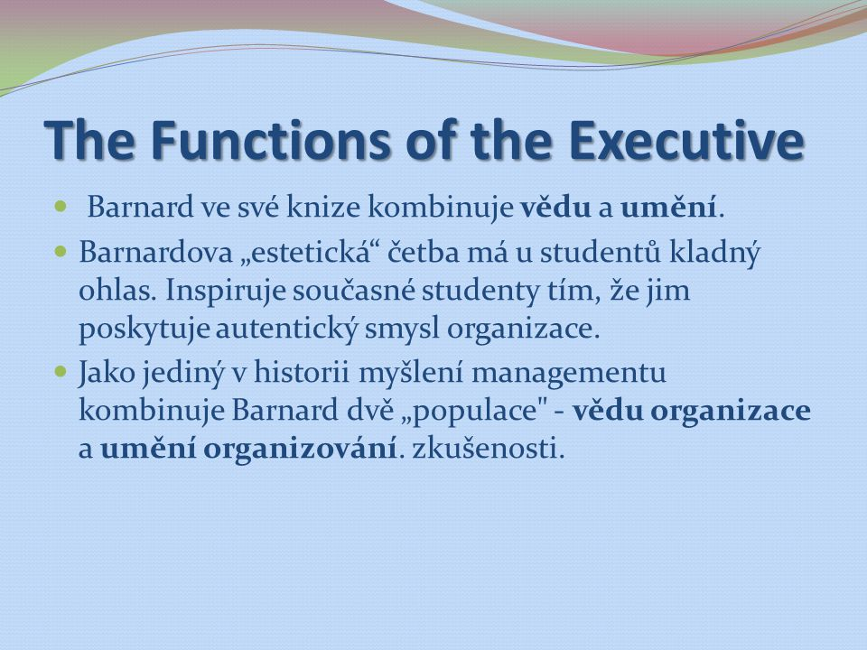 The Functions of the Executive