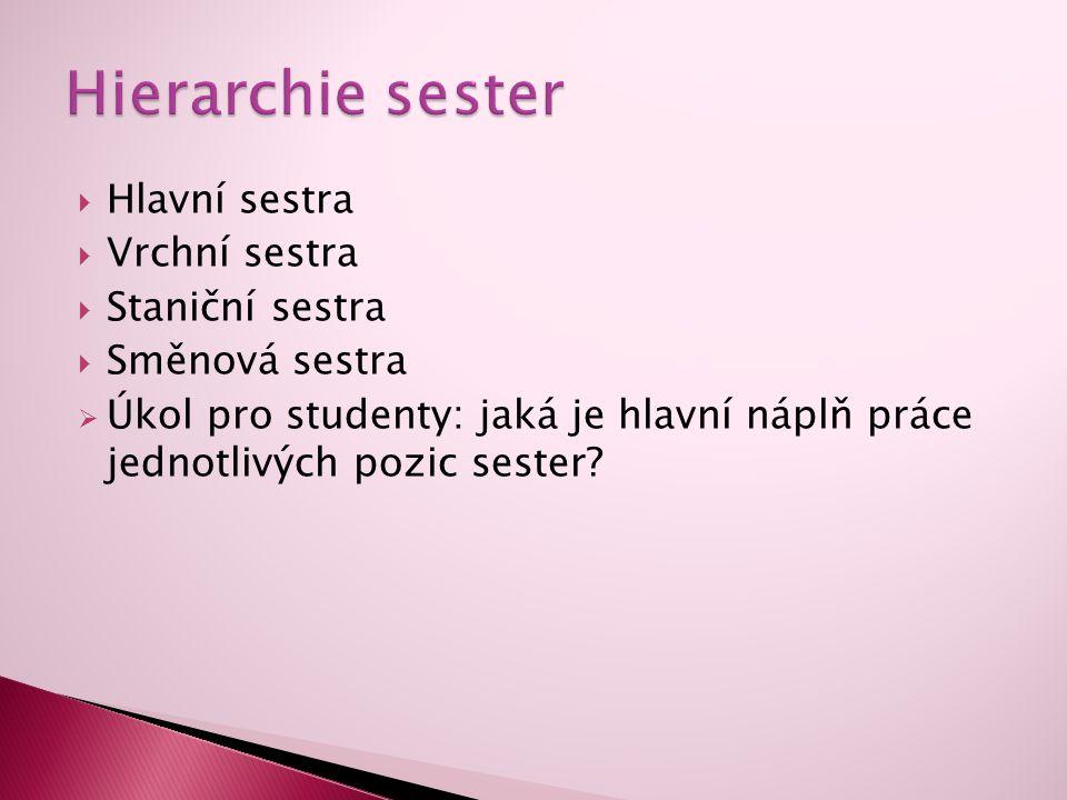 Hierarchie sester Hlavní sestra Vrchní sestra Staniční sestra