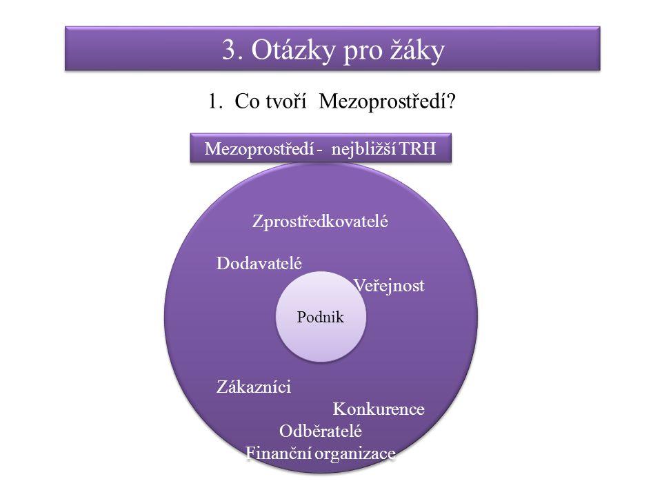 3. Otázky pro žáky 1. Co tvoří Mezoprostředí