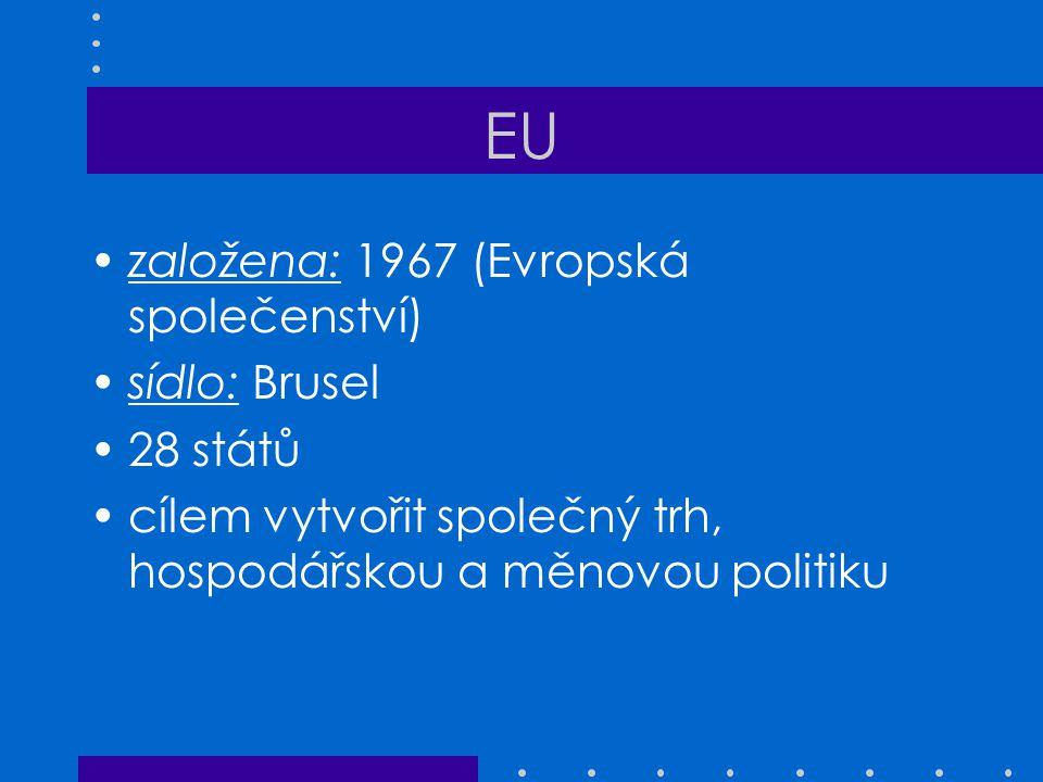 EU založena: 1967 (Evropská společenství) sídlo: Brusel 28 států