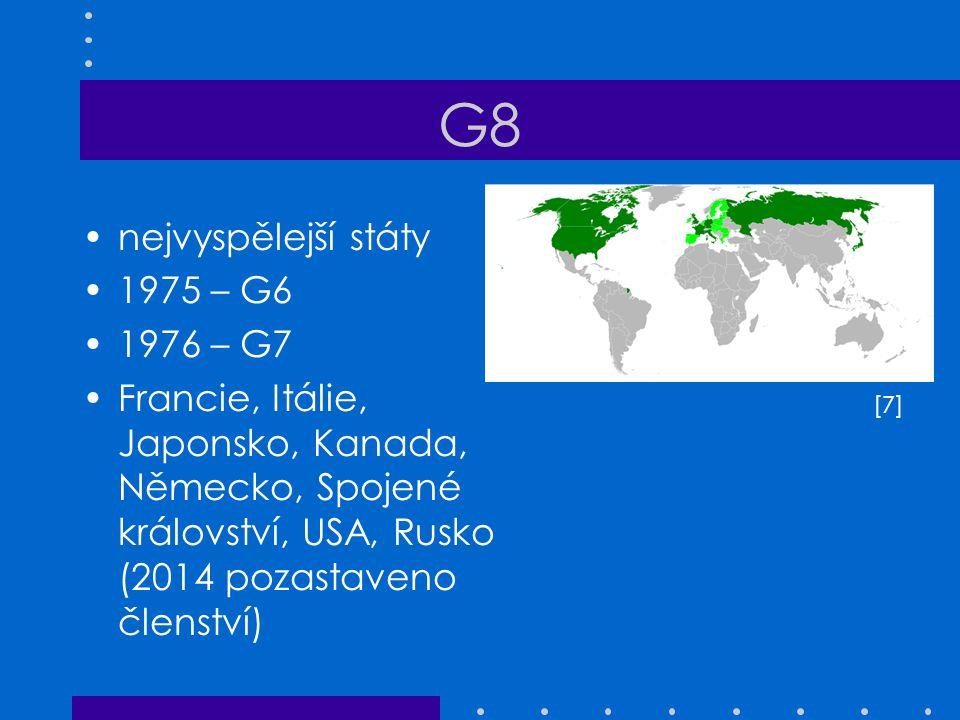 G8 nejvyspělejší státy 1975 – G6 1976 – G7
