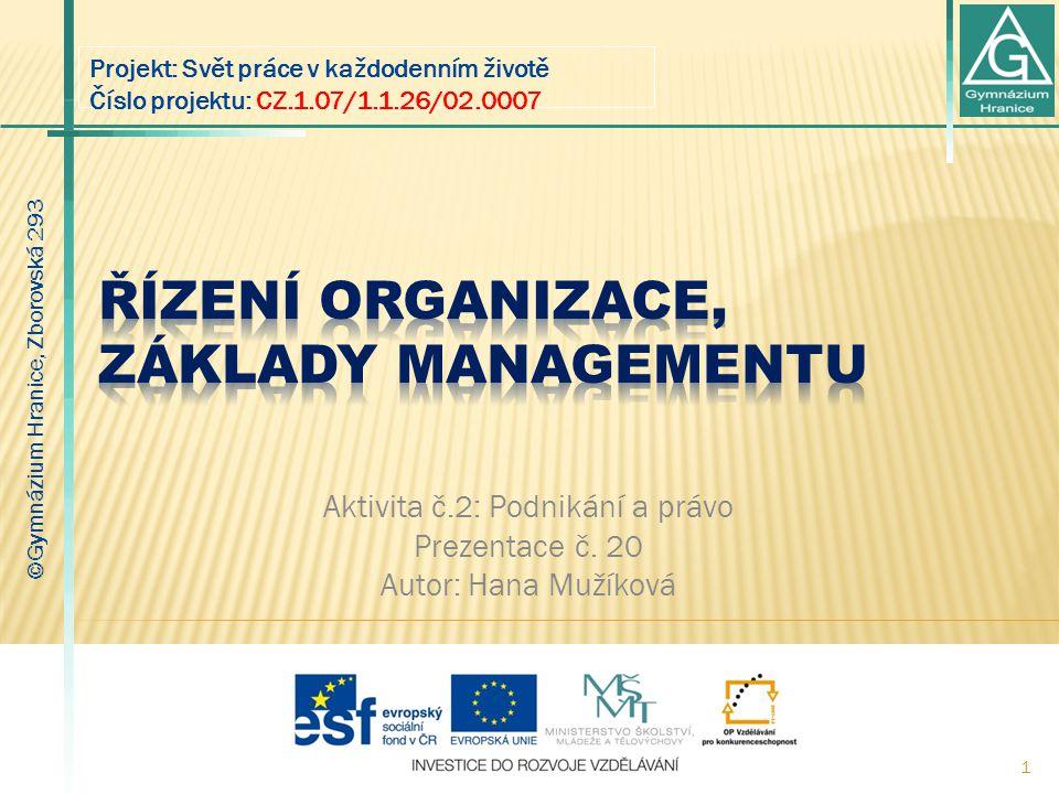 Řízení organizace, základy managementu