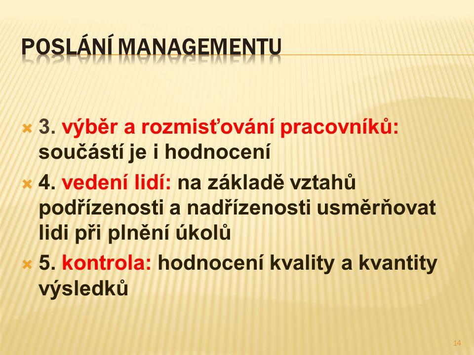 Poslání managementu 3. výběr a rozmisťování pracovníků: součástí je i hodnocení.