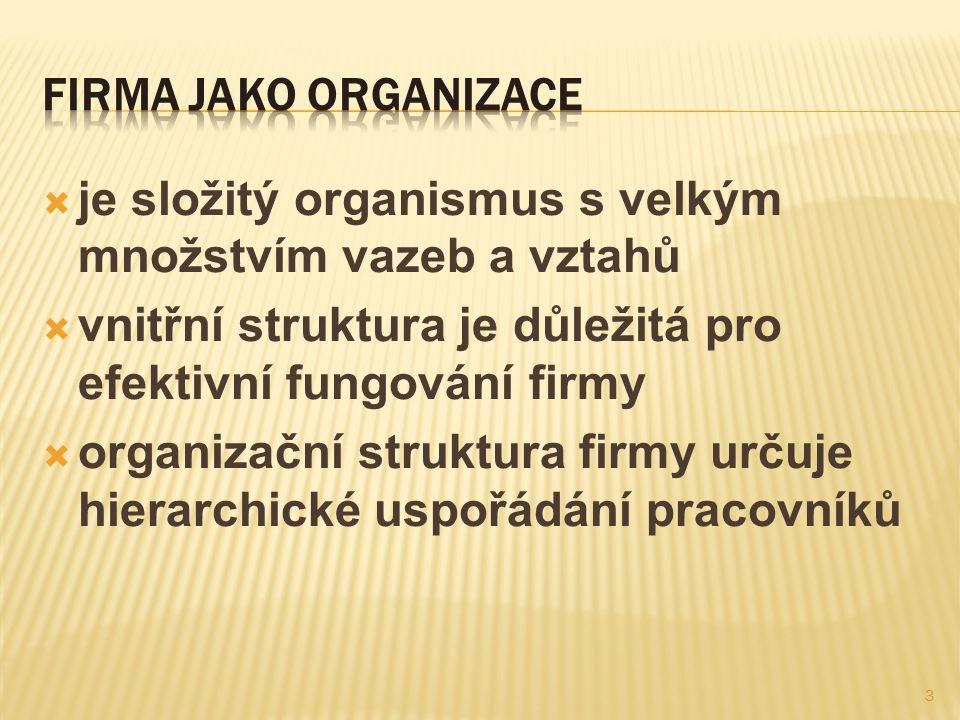 Firma jako organizace je složitý organismus s velkým množstvím vazeb a vztahů. vnitřní struktura je důležitá pro efektivní fungování firmy.