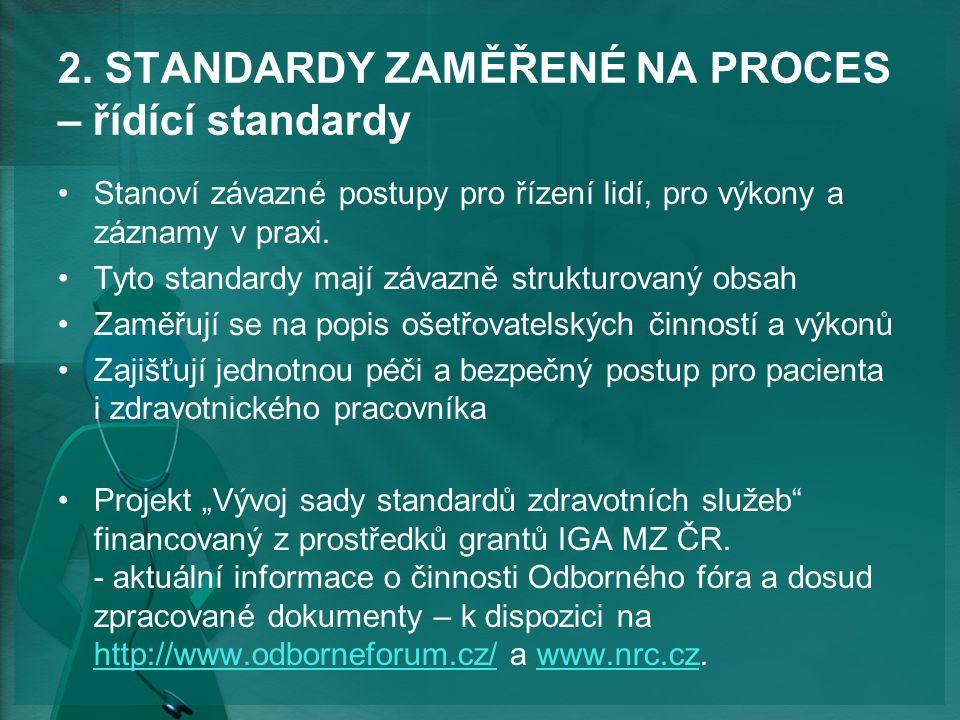 2. STANDARDY ZAMĚŘENÉ NA PROCES – řídící standardy