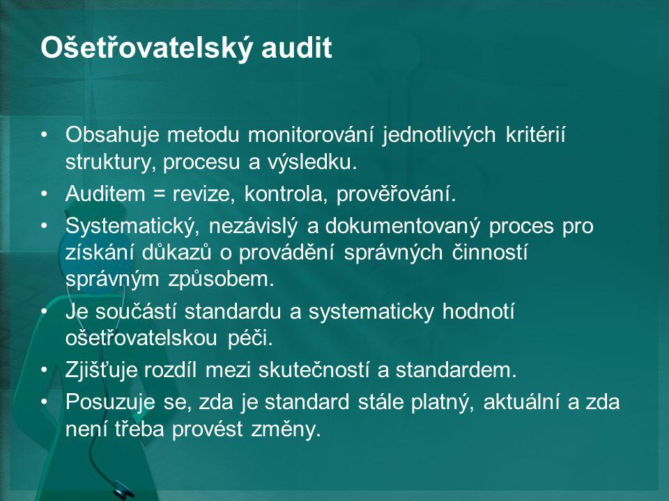 Ošetřovatelský audit Obsahuje metodu monitorování jednotlivých kritérií struktury, procesu a výsledku.