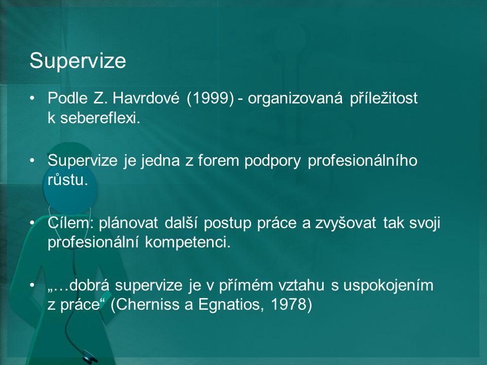 Supervize Podle Z. Havrdové (1999) - organizovaná příležitost k sebereflexi. Supervize je jedna z forem podpory profesionálního růstu.