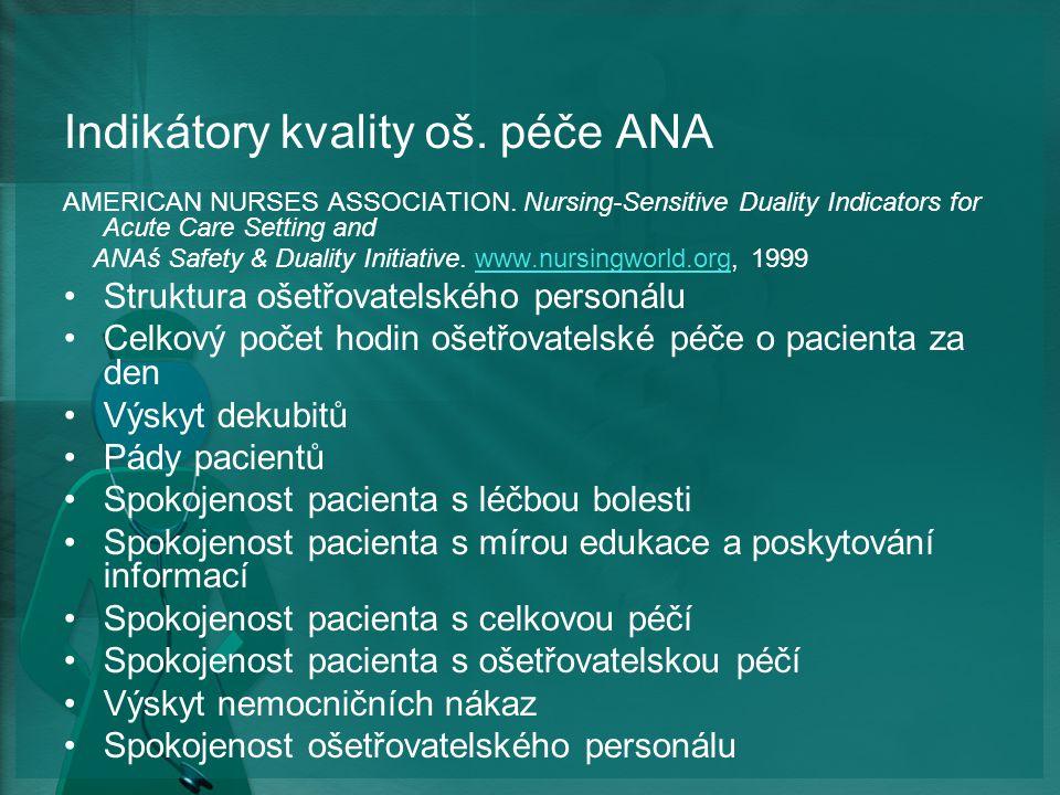 Indikátory kvality oš. péče ANA