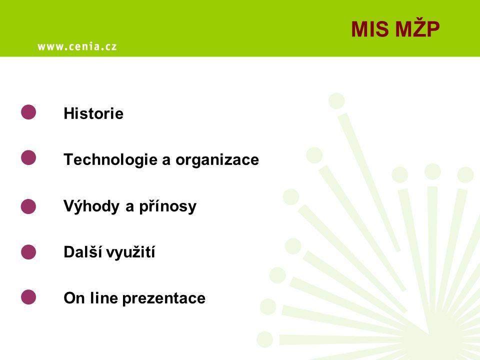 MIS MŽP Historie Technologie a organizace Výhody a přínosy