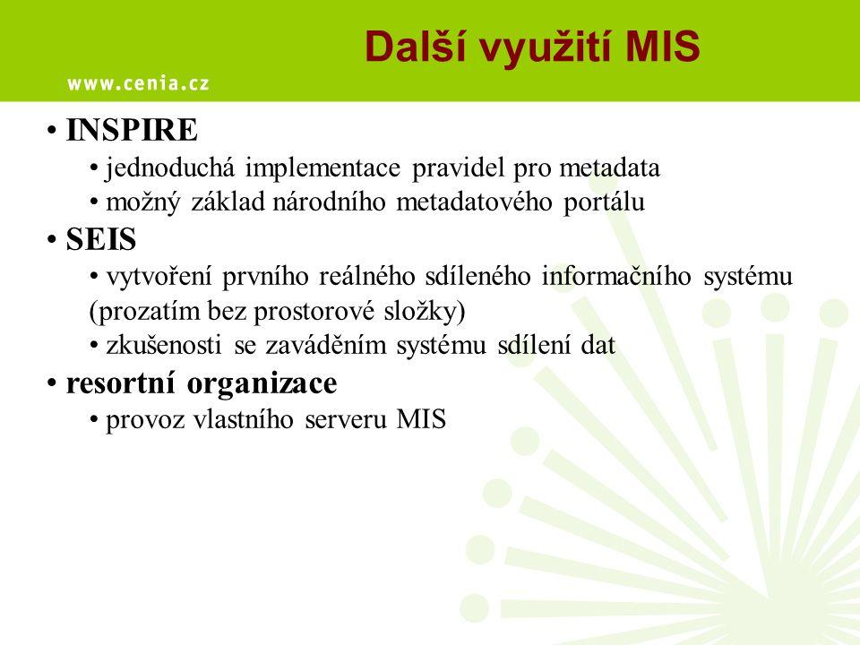 Další využití MIS INSPIRE SEIS resortní organizace