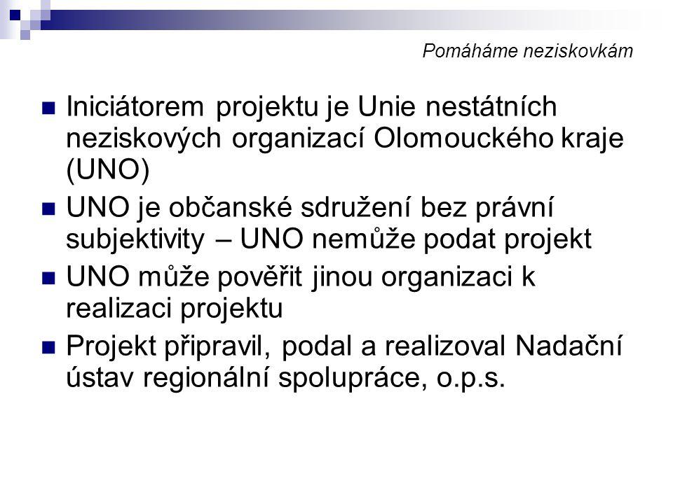 UNO může pověřit jinou organizaci k realizaci projektu