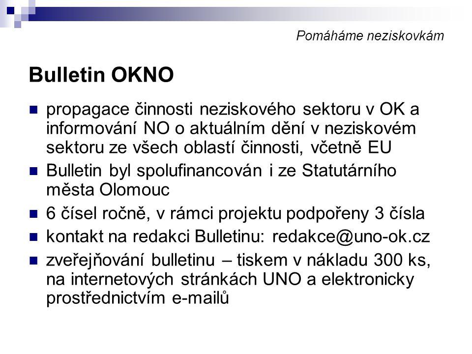 Pomáháme neziskovkám Bulletin OKNO.