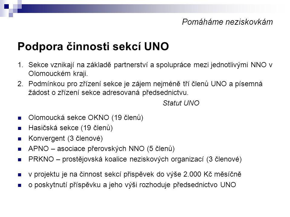 Podpora činnosti sekcí UNO