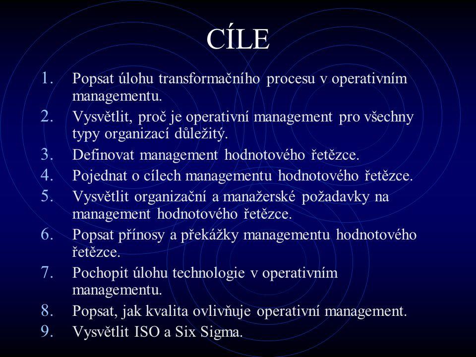 CÍLE Popsat úlohu transformačního procesu v operativním managementu.