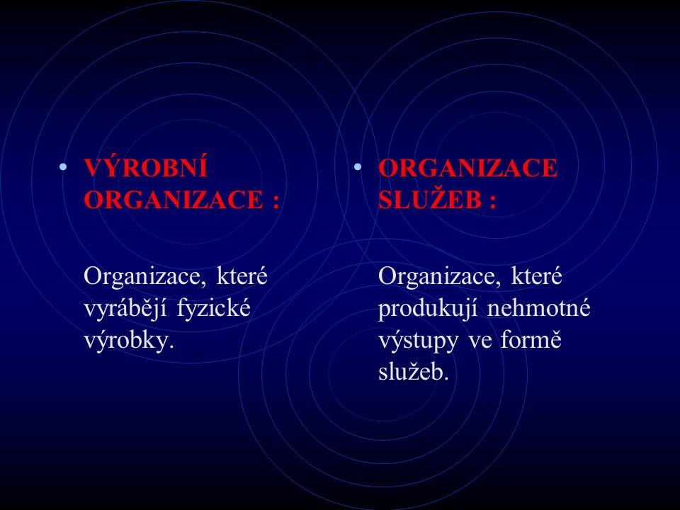 VÝROBNÍ ORGANIZACE : Organizace, které vyrábějí fyzické výrobky.