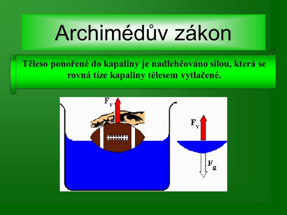 Archimédův zákon Těleso ponořené do kapaliny je nadlehčováno silou, která se rovná tíze kapaliny tělesem vytlačené.