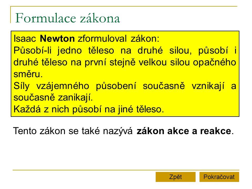 Formulace zákona Isaac Newton zformuloval zákon: