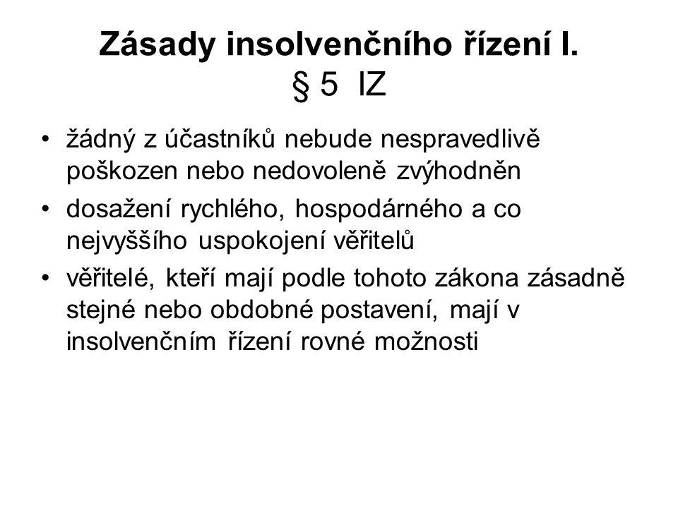 Zásady insolvenčního řízení I. § 5 IZ