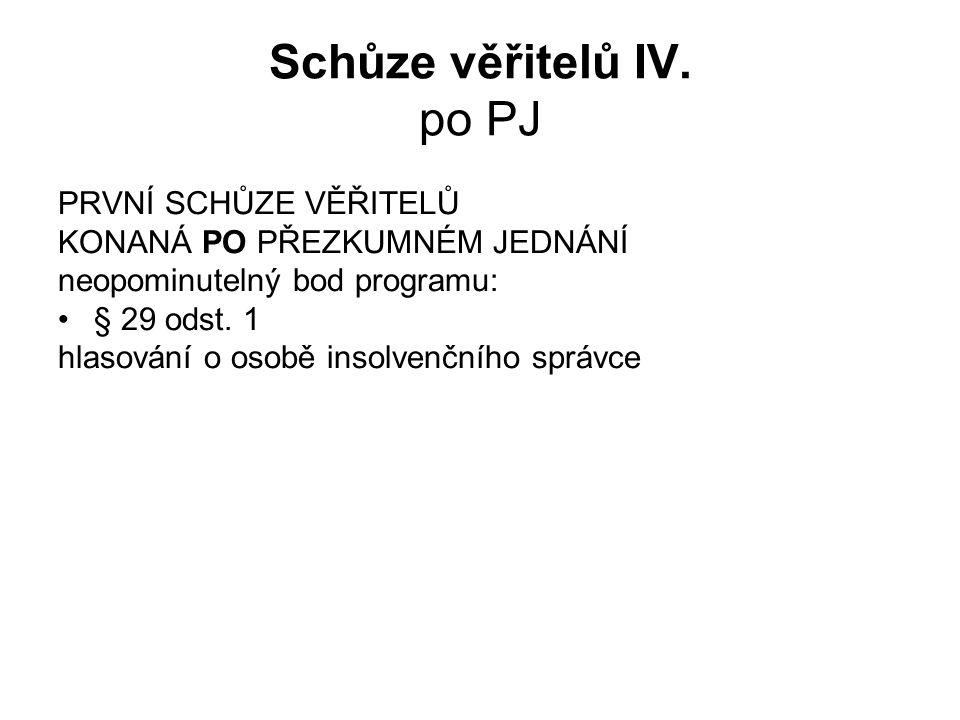 Schůze věřitelů IV. po PJ