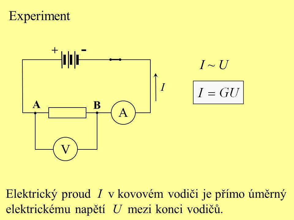 Experiment + - A. V. B. I. I ~ U. Elektrický proud I v kovovém vodiči je přímo úměrný.